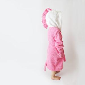детский халат махровый розовый единорог