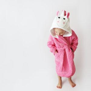 единорог розовый халат для девочек махровый