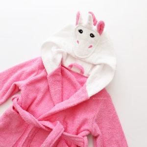 махровый халат розовый единорожек детский