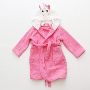 детский махровый халат с капюшоном единорог розовый