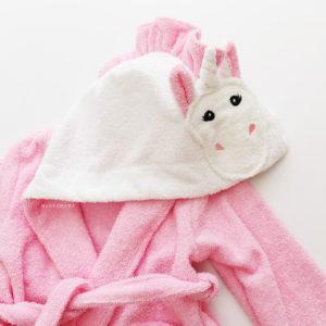 детский халатик махровый единорог розовый