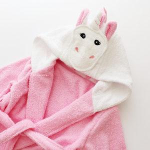 халат махровый для девочки единорог розовый
