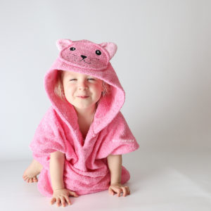 пончо халат махровый кошка розовая