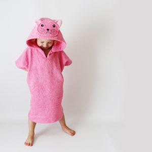 махровое пончо для детей кошка розовая