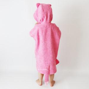 кошечка розовая махровое пончо для девочки