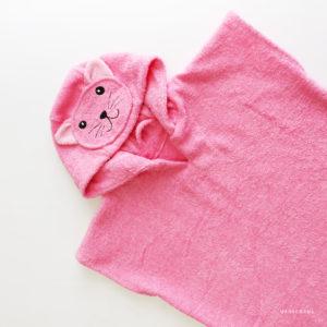 махровое детское пончо розовая кошка
