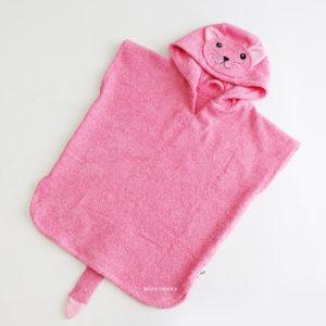 махровое детское пончо с капюшоном кошка