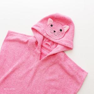 понч омахровое для девочки розовый котенок