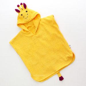 жирафик желтый махровое пляжное пончо для детей