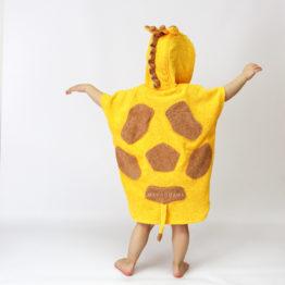 махровое пончо с капюшоном жираф для детей