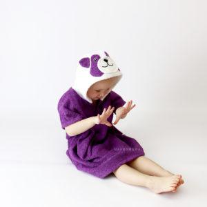 панда пончо махровое с капюшоном для детей и взрослых