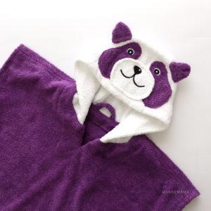 пончо панда махровое с капюшоном