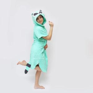 пончо халат махровый женский мятный енот