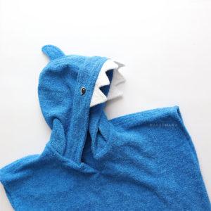 махровое детское пончо акула для детей