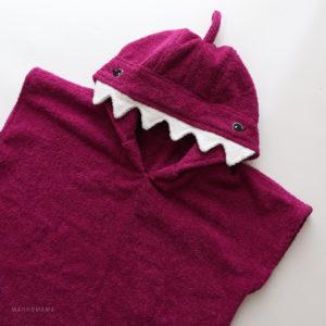 пончо махровое для детей акула