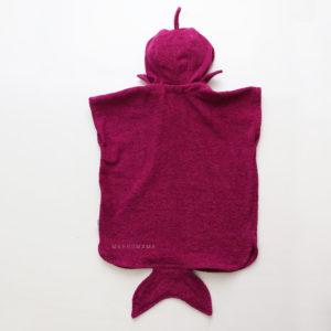полотенце пончо для детей акула лиловая