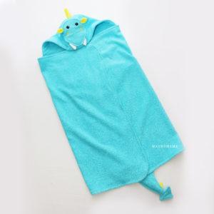 полотенце с уголком капюшоном махровое детское дракон бирюзовый