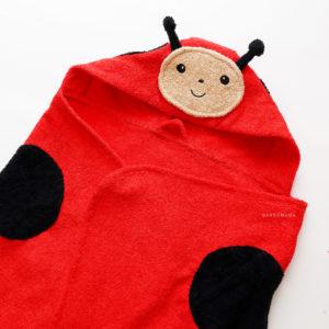 махровое полотенце с капюшоном для детей божья коровка красная