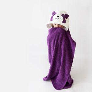 махровое детское полотенце с капюшоном панда тёмно-сиреневая