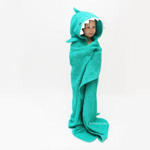 полотенце махрвоое для детей с капюшоном акула