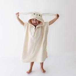 детское махровое пончо с капюшоном зайчик
