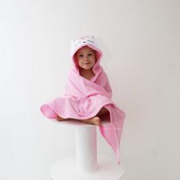 детское махровое полотенце с капюшоном лисичка розовая