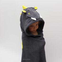 махровое детское полотенце с капюшоном дракончик