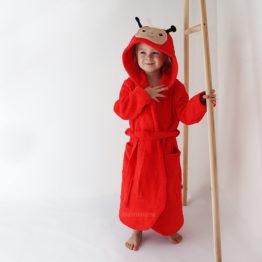 детский махровый халат красная божья коровка