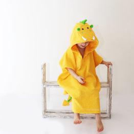 пончо детское махровое с капюшоном дракон